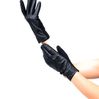 Sure Fit Black Wrist Length Bow Texting Gloves