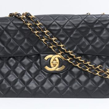 CHANEL Jumbo Matelasse quilted chain shoulder bag Sheep leather (lamb) Black