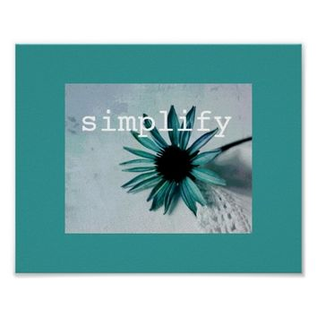 poster teal blue flower with quote vintage style