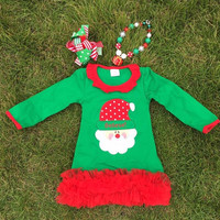 PERSONALIZED Girls Christmas Dress, Girls Christmas Outfit, Toddler Christmas Dress, Red and Green Dress, Toddler Santa Dress,Christmas Tutu