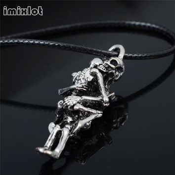Imixlot Skeleton Special Offer Maxi Necklace New Collier Collares 2017 Skull Love Pendant Plated Couple Skulls Hug Chain Jewe