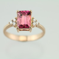 1.42ct Pink Tourmaline and Diamond 18kt Rose Gold Ring