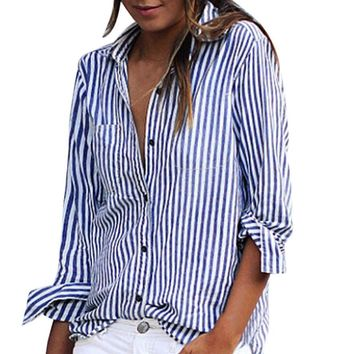 Plus Size Tops Womens Striped Printed Blouses Spring Ladies Elegant Long Sleeve Lapel Collar OL Style Casual Shirts Autumn #LH