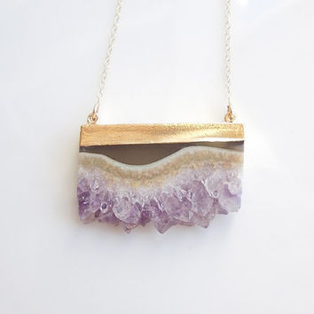 Drusy Amethyst Necklace - Druzy Jewelry - Unique Color - February Birthstone - Large Size - BEST SELLER