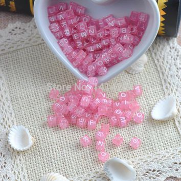 6x6mm 400PCs Mixed Sky Pink  Acrylic Alphabet/Letter square Beads Pony Beads For Jewelry Making YKL0116