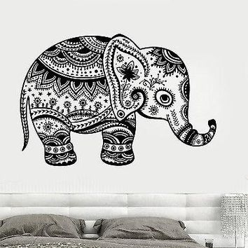 Wall Vinyl Elephant Cute Animal Tribal Ornament Mural Vinyl Decal Unique Gift (z3367)