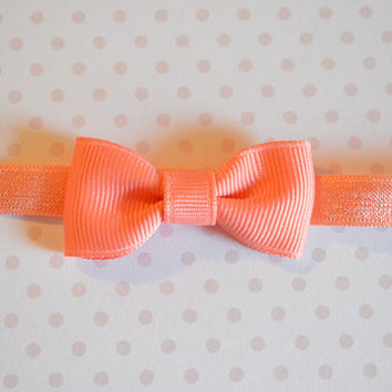 Coral Baby Bow Headband. Tiny Coral Bow Headband. Baby Hair Accessories. Baby Girls Hair Accessories. Baby Bow Headband. Light Coral