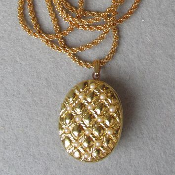 Joan Rivers Vintage Faux Pearl Egg Locket Necklace