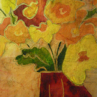 Red floral original painting, oversized watercolor batik on rice paper canary yellow, bright orange  17x24 inches distressed antique look