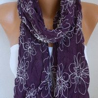 Spring Dark Purple Floral Scarf Mother's Day Gift Shawl Cotton Summer Cowl Embroidered Gift Ideas For Her Women's Fashion Accessories