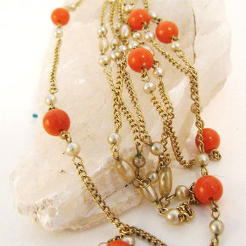 Vintage Coro Necklace Beaded Orange Cream by colorsoulartistry