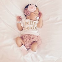 PRE ORDER (NOVEMBER) Baby Girl Take Home Outfit Newborn Baby Girl Hello World Bodysuit Bloomers Headband Set Dusty Rose Pink