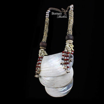 Vintage Papua Three Curved Mother Of Pearl Shell Necklace On A Braided Rope Band.Mixed Seashell,Bead,Seed.Gift For Her,Collectible Tribal