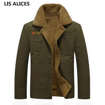 Military Jackets Men's Coats Cotton Fur Collar Men's Jackets Military Casual Male Outerwear