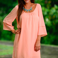 Double Down Dress, Peach