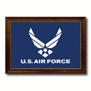 US Air Force Military Flag Canvas Print with Brown Picture Frame Home Decor Wall Art Gift Ideas