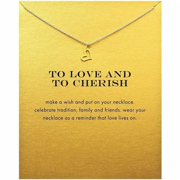 Tiny Love Heart Pendant Necklace Women Minimalist Clavicle Chain Statement Choker Necklaces To Love And To Cherish Gift Card