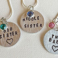 Big Sister Little Sister // The Baby // Little Brother// Siblings // Matching Necklace Gift Set // Big Sis // Lil Sis // New Baby