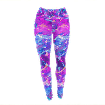 "Ebi Emporium ""Motley Flow 2"" Purple Blue Yoga Leggings"