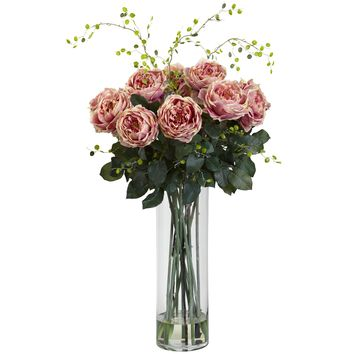 Artificial Flowers -Giant Fancy Pink Rose And Willow Arrangement Artificial Plant