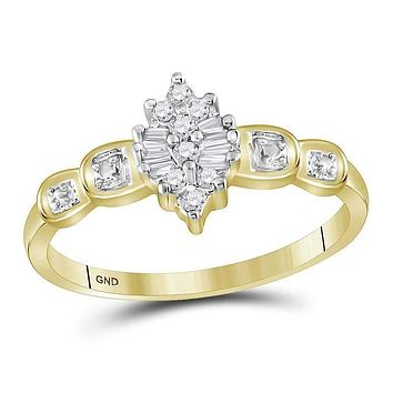 10kt Yellow Gold Women's Round Baguette Prong-set Diamond Oval Cluster Ring 1/10 Cttw - FREE Shipping (US/CAN)
