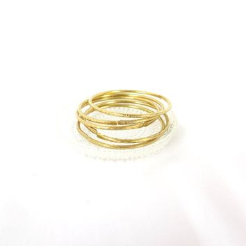 Set of 5 thick gold bangle bracelets, handmade gold brass hammered bangles