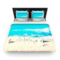 "Monika Strigel ""Summer at the Beach"" Blue Coastal Woven Duvet Cover"