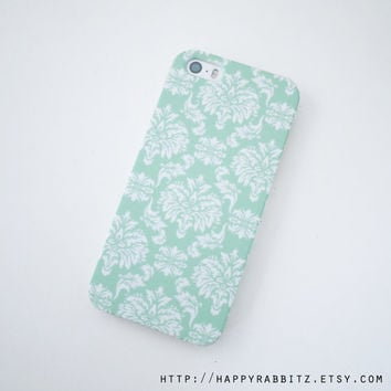 Mint Damask iphone 5 case, Damask iphone 5s case, cute iphone case, Pattern iphone 5 cover, iphone 5s cover, art iphone cover