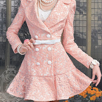 new Fall lady Sweet Cute Floral daisy Double Breast Pink Jacket Coat 4 Size