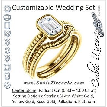 CZ Wedding Set, featuring The Cheyenne engagement ring (Customizable Radiant Cut Bezel-set Solitaire with Beaded Filigree Three-sided Band)