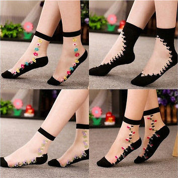 Women Crystal Sock Sheer Thin Ice Silk Black Lace Ankle Flower Boat Socks Gift H
