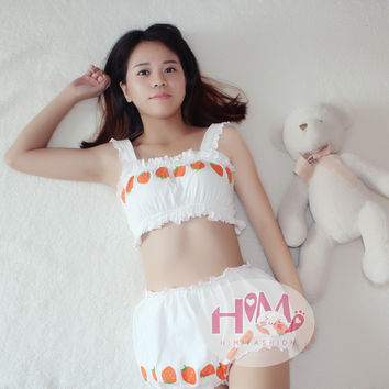 Cute Japanese style strawberry graphic pajama sets women cotton underwear set bar pants for girls white color homewears A set