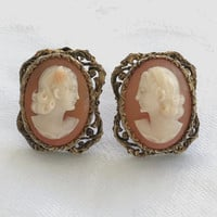 Filigree Cameo Earrings, Vintage Cameo Earrings, Screwback Cameo Earrings, Vintage Cameos