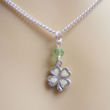 Irish Shamrock Glow in the Dark Necklace,Four Leaf Clover Necklace,Lucky Necklace,Good Luck Pendant,Luck Charm,Good Luck Charm
