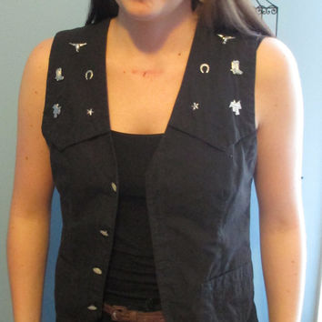 Women's Black Western Vest w/ Silver Embellishments and Pearl Snap Buttons