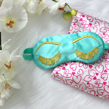Breakfast at Tiffany's eye mask, HOLLY GOLIGHTLY sleep mask, Audrey Hepburn mask, Eyelashes sleep mask, Eye mask, Aqua and Gold sleep mask