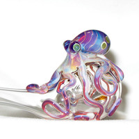 Octopus Sherlock Hand Blown Glass by andromedaglass on Etsy