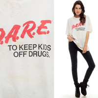 DARE T Shirt Top 90s Dare Shirt Vintage Keep Kids Off Drugs Paper Thin BURNOUT Tee Tshirt 1990s White Distressed Anti Drug Medium Large xl