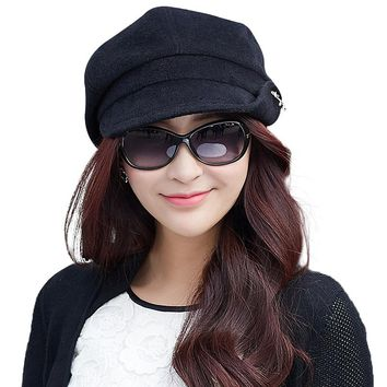 Women Wool Beret Hat Winter Cap Fedora Packable Newsboy SIGGI Bonia casquette femme sombrero cabbie autume gorros dome 69213