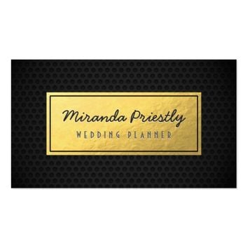 Chic Black & Gold Faux Gold Foil Dark Metal Grids Business Card