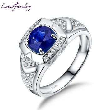 Solid 14Kt White Gold Wedding Genuine Gemstone Blue Sapphire Men's Rings Diamond Engagement Jewelry for Husband Anniverysary