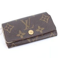 100% Auth Louis Vuitton Monogram Key Holder purse wallet TH0936 RARE