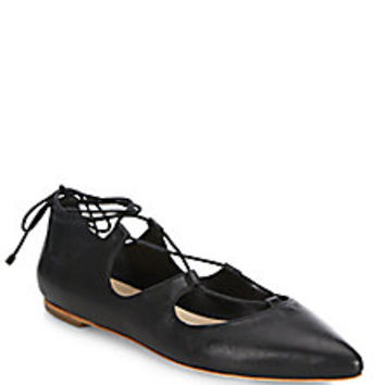Loeffler Randall - Ambra Leather Lace-Up Flats - Saks Fifth Avenue Mobile
