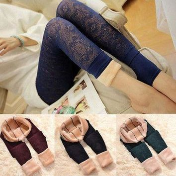 DCCKH6B Women Solid Winter Thick Warm Fleece Lace Lined Thermal Stretchy Leggings Pants