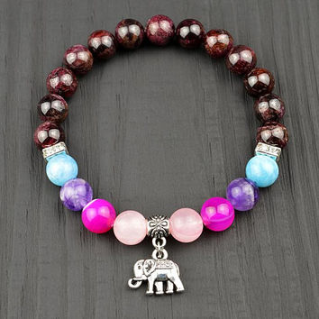 Fertility Garnet Bracelet Passion Sexual Libido Healing Jewelry Elephant Bracelet Rose Quartz Amethyst Aquamarine Yoga Gemstone Gift for Her