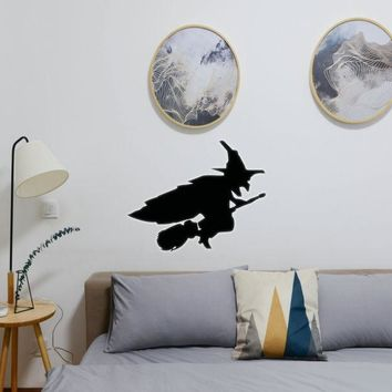 Halloween Witch Riding Broom 01 Vinyl Wall Decal - Removable (Indoor)