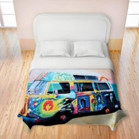 Duvet Cover Brushed Twill Twin, Queen, King SETs from DiaNoche Designs by Markus Bleichner Unique Home Decor and Designer Bedding Ideas Here Comes the Sun Volkswagon Bus