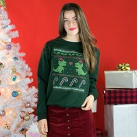 Dinosaur Ugly Christmas Sweater Crewneck Sweatshirt