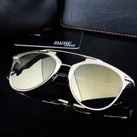 Silver Mirrored Cat Eye Sunglasses