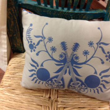 Decorative Bed or Chair Pillow Dual Mandolin Folk Music Blue and Gray